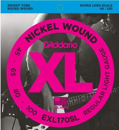 D-Addario - D'Addario EXL170SL 4 Telli Bas Gitar Tel Takımı Super Long Scale (45-100)