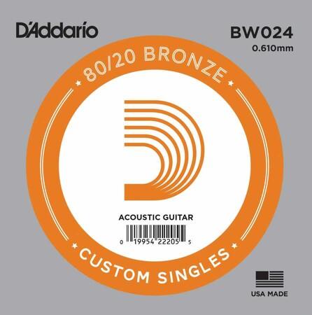 D'Addario BW024 Bronze Wound Akustik Gitar Tek Tel