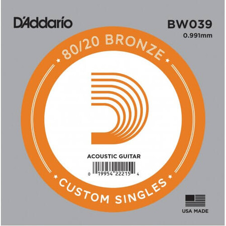 D'Addario BW039 Bronze Wound Akustik Gitar Tek Tel