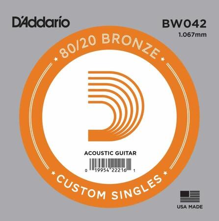 D'Addario BW042 Bronze Wound Akustik Gitar Tek Tel