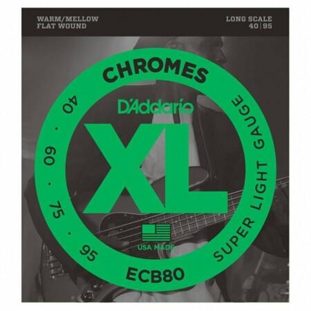 D-Addario - D'Addario ECB80 FlatWound Chromes Bas Gitar Teli (040-095)