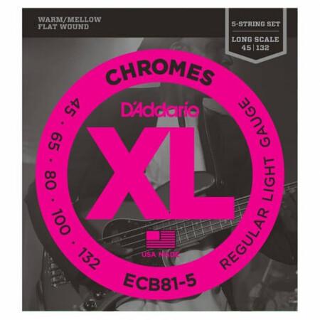 D'Addario ECB81-5 FlatWound Chromes 5 Telli Bas Gitar Teli (045-132)