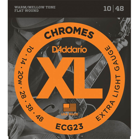 D'Addario ECG23 Chromes Flat Wound, Extra Light, Elektro Jazz Gitar Teli (10-48)