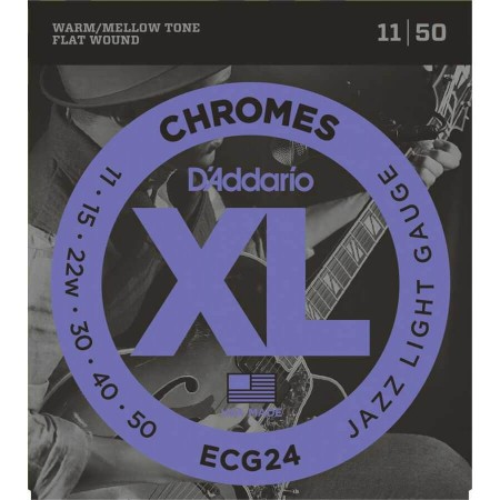 D-Addario - D'Addario ECG24 Chromes Flat Wound, Light Elektro Jazz Gitar Teli (11-50)