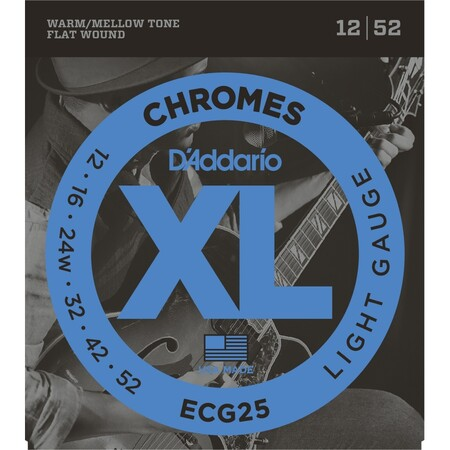 D'Addario ECG25 Chromes Flat Wound, Light, Elektro Jazz Gitar Teli (12-52)