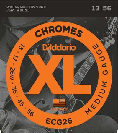 D-Addario - D'Addario ECG26 Chromes Flat Wound, Medium, Elektro Jazz Gitar Teli (13-56)
