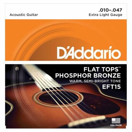 D-Addario - D'Addario EFT15 Flat Tops, Extra Light, 10-47 Akustik Gitar Tel Takımı
