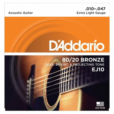 D'Addario EJ10 80/20 Bronze Akustik Gitar Teli (010-047) - Thumbnail