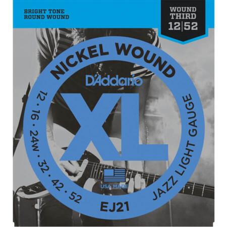 D-Addario - D'Addario EJ21 Nickel Wound, Light, Elektro Jazz Gitar Teli (12-52)