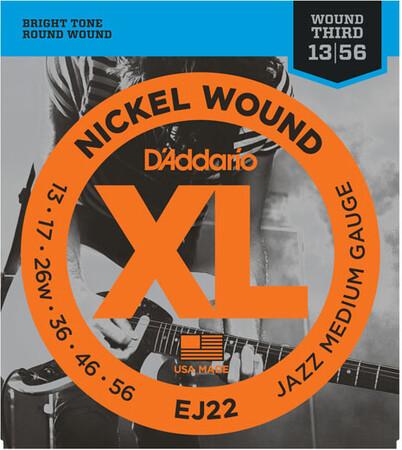 D-Addario - D'Addario EJ22 Nickel Wound, Medium, Elektro Jazz Gitar Teli (13-56)