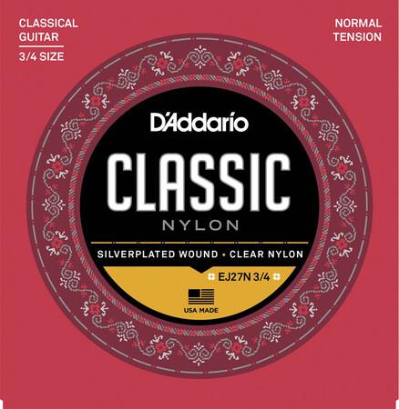D-Addario - D'Addario EJ27N 3/4 Normal Tansion Küçük Gitar Klasik Gitar Tel Takımı