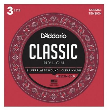 D-Addario - D'Addario EJ27N-3D Klasik Gitar Teli 3'lü Set