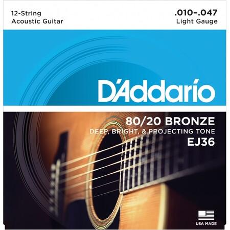 D-Addario - D'Addario EJ36 Bronze Light (10-47) 12 Telli Akustik Gitar Tel Takımı
