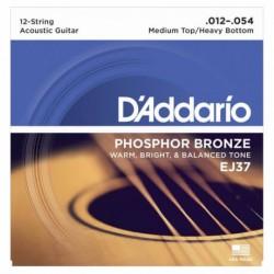D'Addario EJ37 Phosphor Bronze 12 Telli Akustik Gitar Teli (012-054)