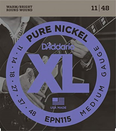 D-Addario - D'Addario EPN115 Pure Nickel Medium Blues Jazz Elektro Gitar Takım Tel (11-48)