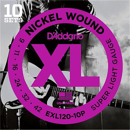D'Addario EXL120-10P (10'lu Set) Nikel Wound Elektro Gitar Teli (09-42) - Thumbnail