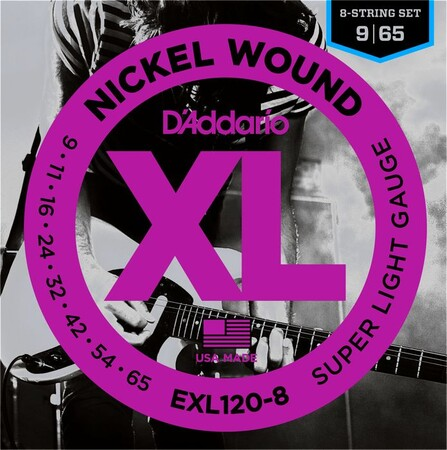 D'Addario EXL120-8 Nickel Wound, Super Light 8 Telli Elektro Gitar Tli (09-65) - Thumbnail
