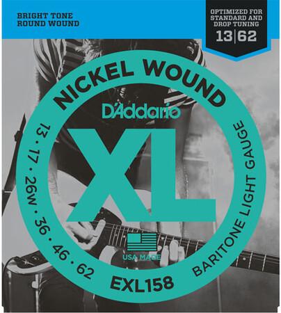 D'Addario EXL158 Nickel Wound, Baritone Light, Elektro Gitar Teli (13-62 - Thumbnail