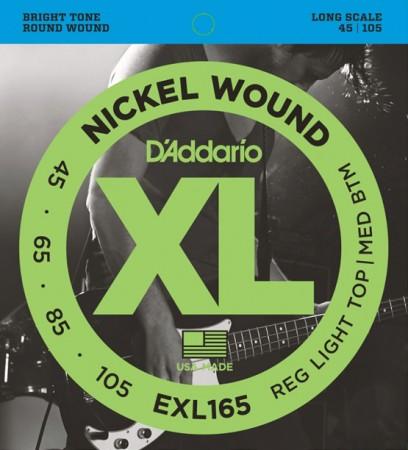 D-Addario - D'Addario EXL165 Nickel Wound Bass, Custom Light 45-105 Bas Gitar Takım Tel
