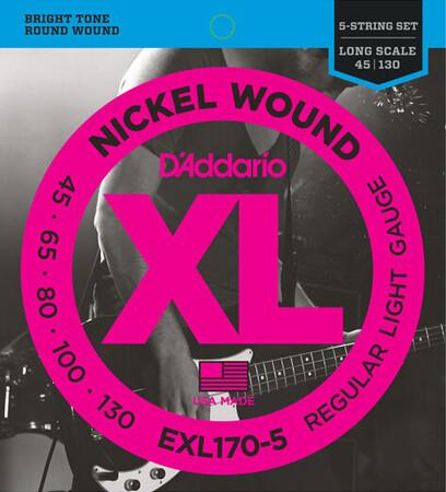 D-Addario - D'Addario EXL170-5 (45-130) Nickel Wound 5 Telli Bas Gitar Teli