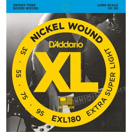 D'Addario EXL180 Nickel Wound Bass, Extra Super Light, 35-95, Long Scale 4 Telli