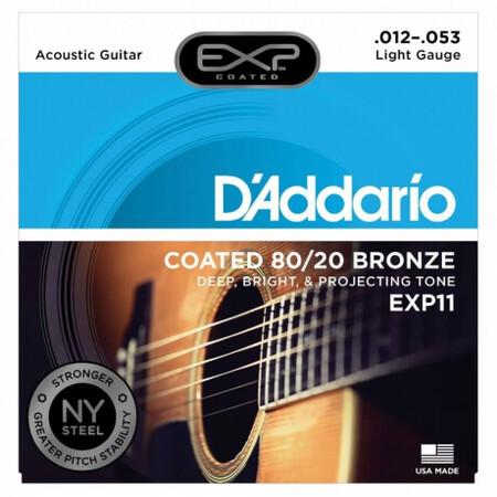 D-Addario - D'Addario EXP11 Coated 80/20 Akustik Gitar Teli (012-053)