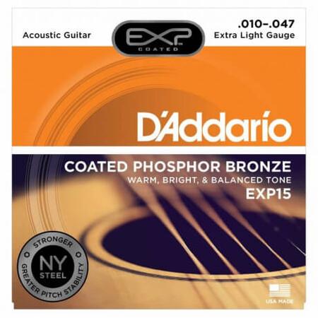 D'Addario EXP15 Coated Phosphor Bronze Akustik Gitar Teli (010-047)