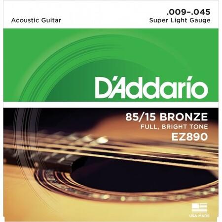 D-Addario - D'Addario EZ890 Süper Light 09-45 Akustik Gitar Tel Takımı