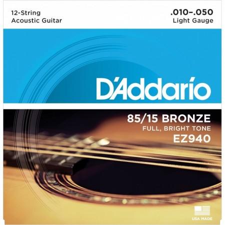 D-Addario - D'Addario EZ940 - Light 12 Telli Akustik Gitar Tel Takımı 010-050