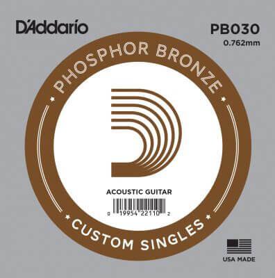 D-Addario - D'Addario PB030 Phosphor Bronze Wound Akustik Gitar Tek Tel
