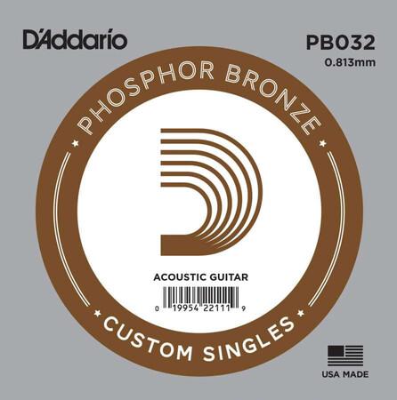D'Addario PB032 Phosphor Bronze Wound Akustik Gitar Tek Tel