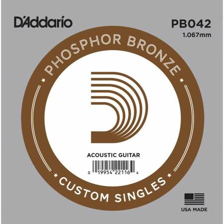 D'Addario PB042 Phosphor Bronze Wound Akustik Gitar Tek Tel