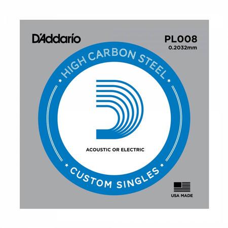 D-Addario - D'Addario PL008 Plain Steel Elektro Gitar Tek Tel