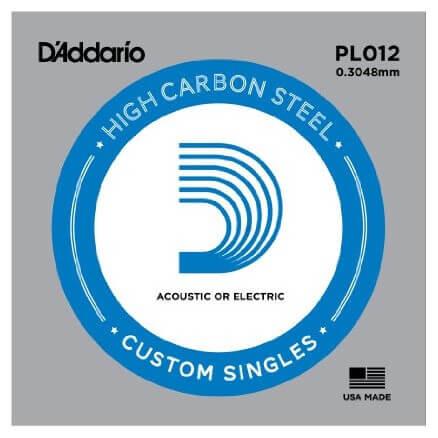 D'Addario PL012 Plain Steel Elektro Gitar Tek Tel