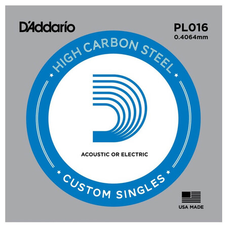 D-Addario - D'Addario PL016 Plain Steel Elektro Gitar Tek Tel