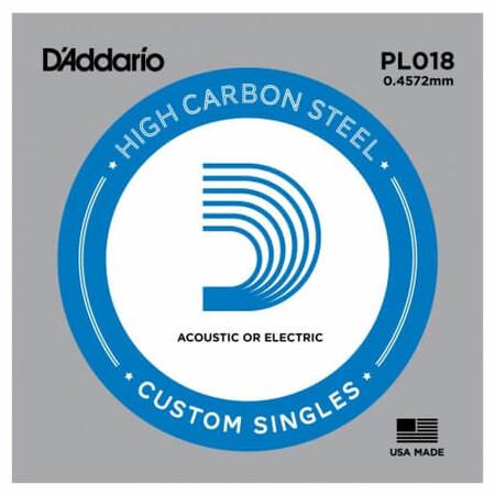 D-Addario - D'Addario PL018 Plain Steel Elektro Gitar Tek Tel