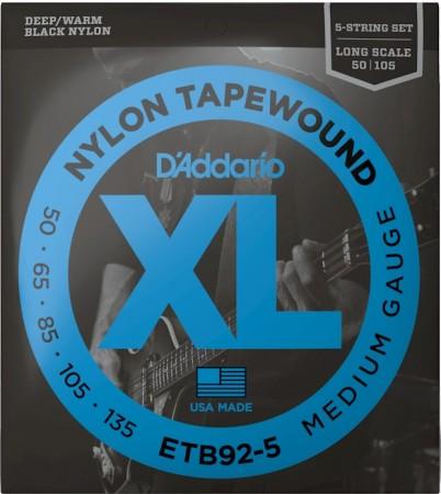 D-Addario - D'Addario Tapewound ETB92-5 Medium 50-135 5-String / Long Scale Set 5 Telli Bas Gitar Teli