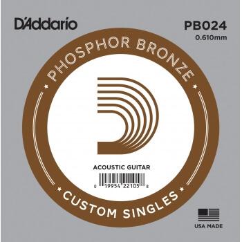 D'Addario PB024 Phosphor Bronze Wound Akustik Gitar Tek Tel