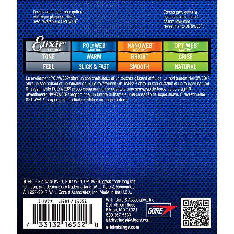 Elixir 16552 Optiweb Nickel Plated Elektro Gitar Teli 3'lü Set