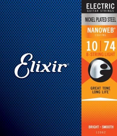 Elixir - Elixir Nanoweb 12062 Light 8 Telli Elektro Gitar Teli (010 - 074)