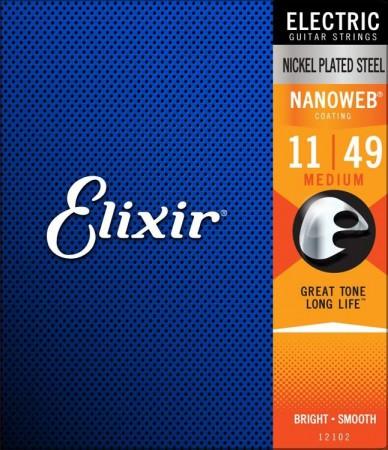 Elixir Nanoweb 12102 Medium Elektro Gitar Teli (11-49)