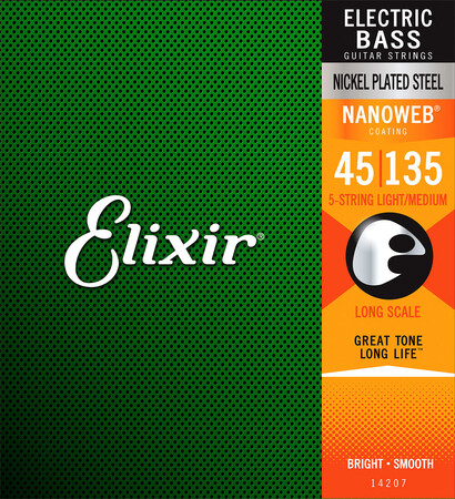Elixir - Elixir Nanoweb Light Medium 14207 5 Telli Bas Gitar Teli (045-135)