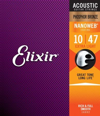 Elixir 16002 Nanoweb Phosphor Bronze Akustik Gitar Teli (10-47)