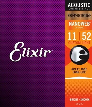 Elixir - Elixir 16027 Nanoweb Phosphor Bronze Akustik Gitar Teli (11-52)