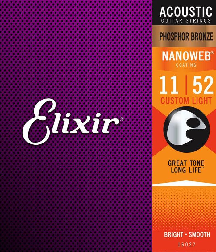 Elixir 16027 Nanoweb Phosphor Bronze Akustik Gitar Teli (11-52)