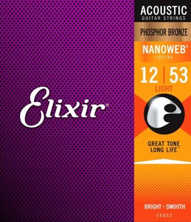 Elixir - Elixir 16052 Nanoweb Phosphor Bronze Akustik Gitar Teli (12-53)