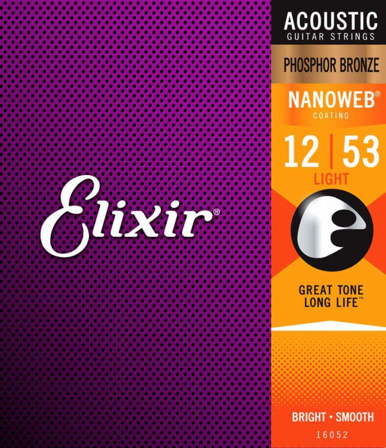 Elixir 16052 Nanoweb Phosphor Bronze Akustik Gitar Teli (12-53)