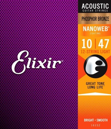 Elixir - Elixir Phosphor Bronze 16152 Nanoweb 12 Telli Akustik Gitar Teli Set