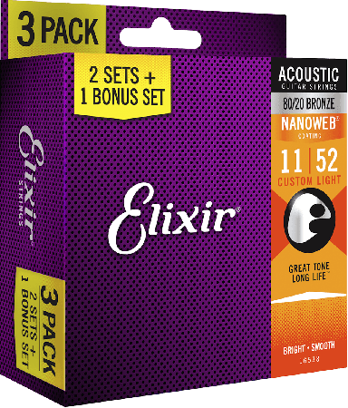 Elixir - Elixir Nanoweb Bronze 16538 Akustik Gitar Teli 3'lü Set
