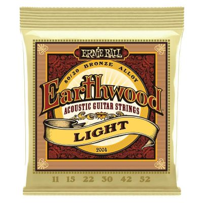 Ernie Ball 2004 Earthwood Light 80/20 Bronze 11-52 Akustik Gitar Teli